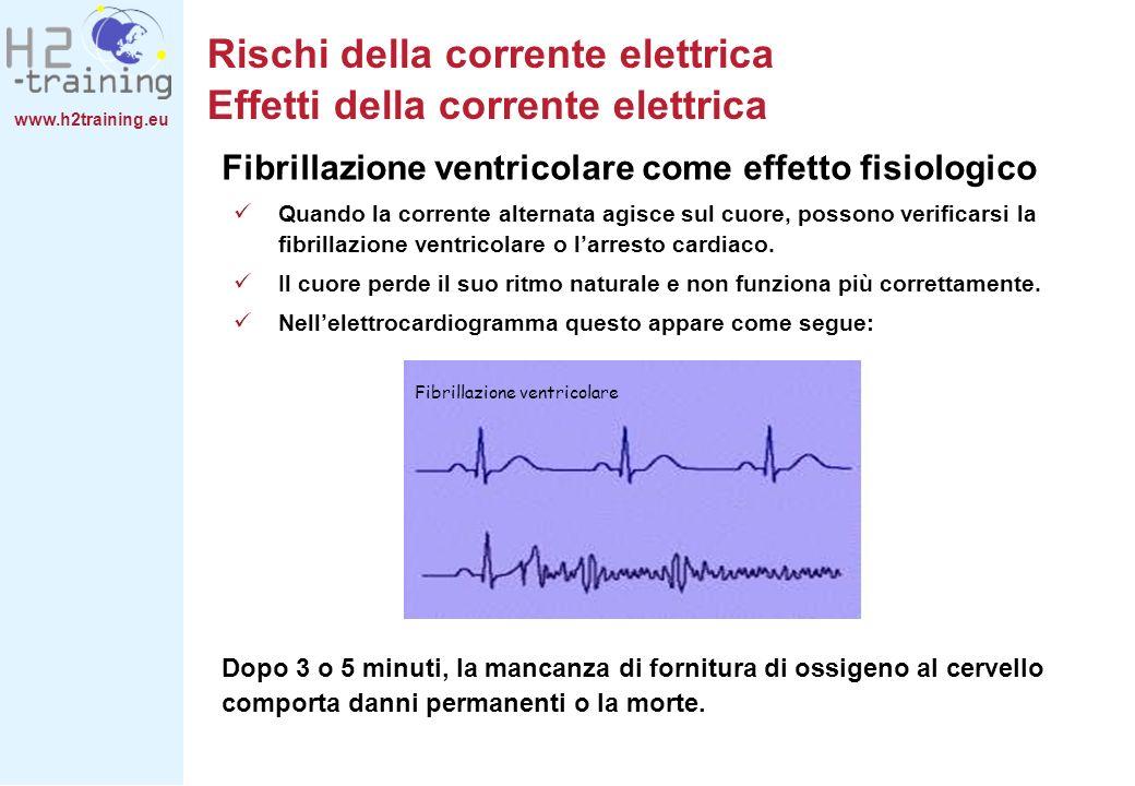 www.h2training.eu Fibrillazione ventricolare come effetto fisiologico Quando la corrente alternata agisce sul cuore, possono verificarsi la fibrillazi