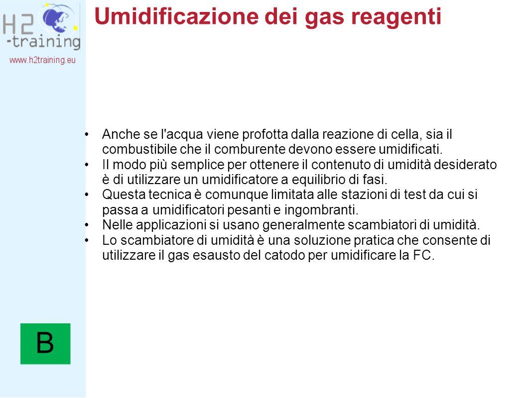 Umidificazione dei gas reagenti Anche se l'acqua viene profotta dalla reazione di cella, sia il combustibile che il comburente devono essere umidifica
