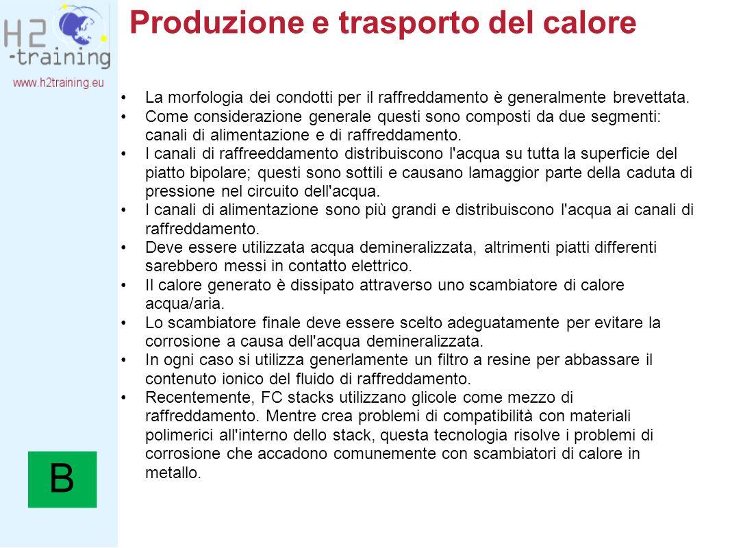 Produzione e trasporto del calore La morfologia dei condotti per il raffreddamento è generalmente brevettata. Come considerazione generale questi sono