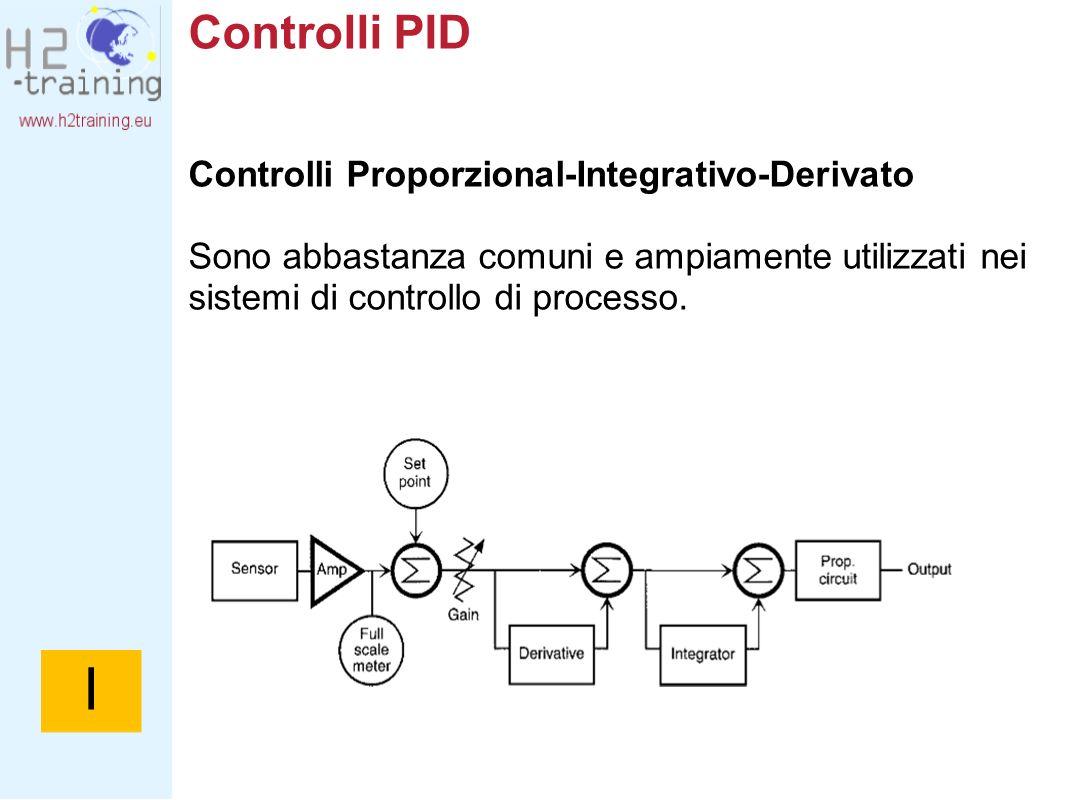 Controlli PID Controlli Proporzional-Integrativo-Derivato Sono abbastanza comuni e ampiamente utilizzati nei sistemi di controllo di processo. I