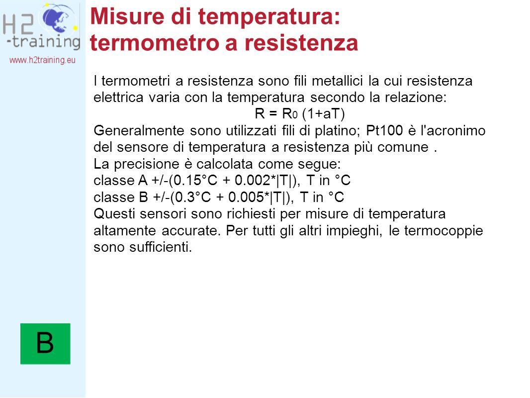 Misure di temperatura: termometro a resistenza I termometri a resistenza sono fili metallici la cui resistenza elettrica varia con la temperatura seco