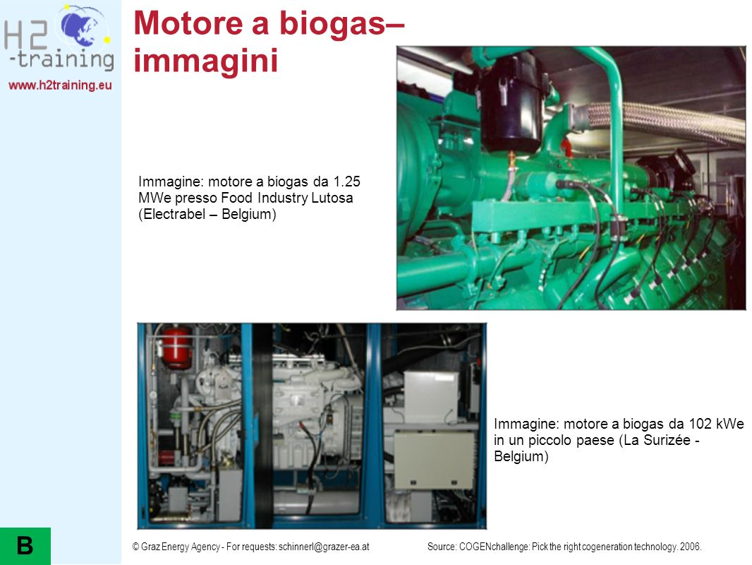 © Graz Energy Agency - For requests: schinnerl@grazer-ea.at Motore a biogas– immagini Source: COGENchallenge: Pick the right cogeneration technology.