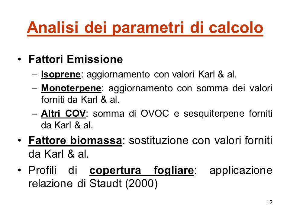 12 Analisi dei parametri di calcolo Fattori Emissione –Isoprene: aggiornamento con valori Karl & al.
