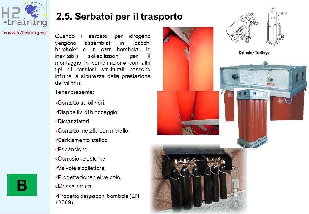 www.h2training.eu 2.5. Serbatoi per il trasporto Quando i serbatoi per idrogeno vengono assemblati in pacchi bombole o in carri bombolai, le inevitabi