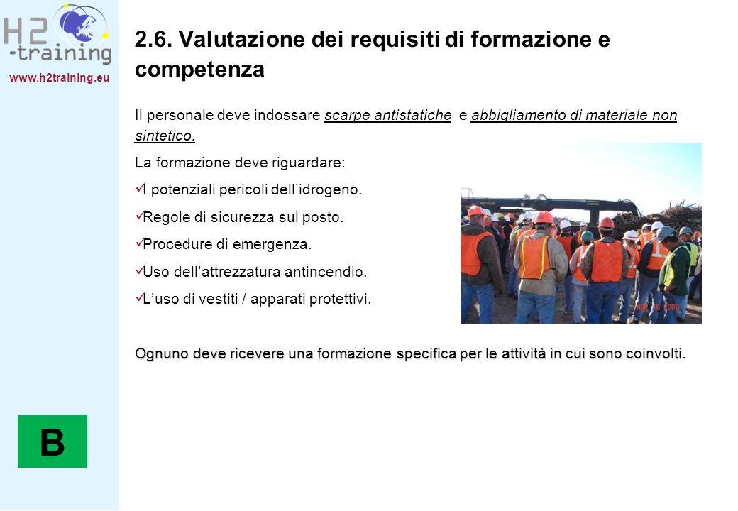 www.h2training.eu 2.6. Valutazione dei requisiti di formazione e competenza Il personale deve indossare scarpe antistatiche e abbigliamento di materia