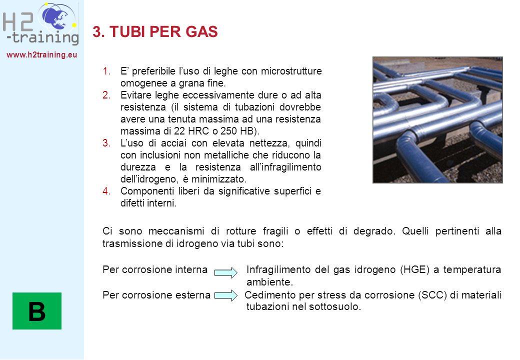 www.h2training.eu 3. TUBI PER GAS 1.E preferibile luso di leghe con microstrutture omogenee a grana fine. 2.Evitare leghe eccessivamente dure o ad alt