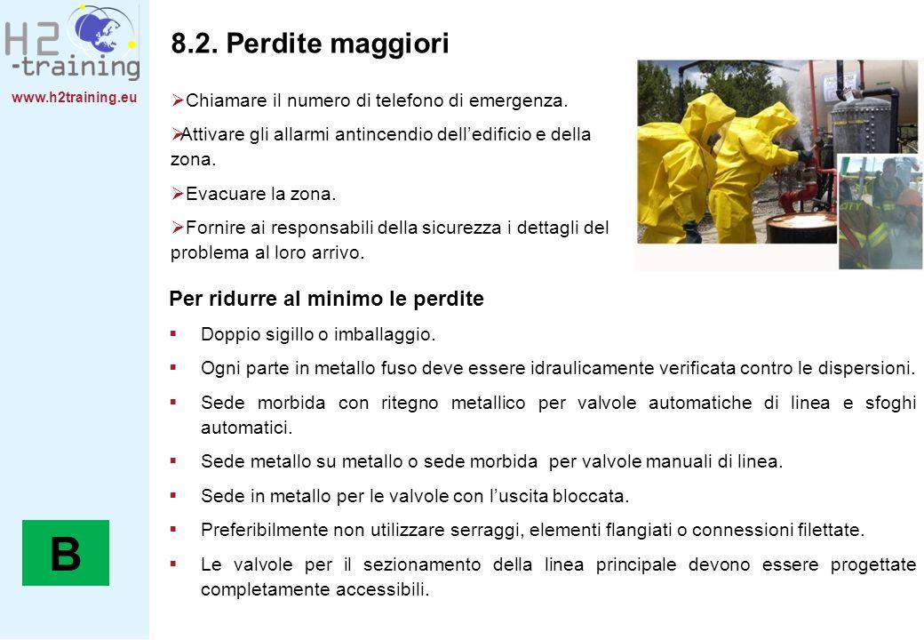 www.h2training.eu 8.2. Perdite maggiori Chiamare il numero di telefono di emergenza. Attivare gli allarmi antincendio delledificio e della zona. Evacu