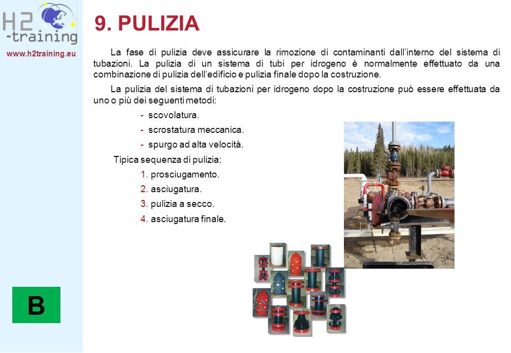 www.h2training.eu 9. PULIZIA La fase di pulizia deve assicurare la rimozione di contaminanti dallinterno del sistema di tubazioni. La pulizia di un si