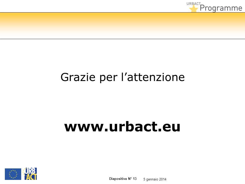 Diapositiva N° 13 Grazie per lattenzione www.urbact.eu 5 gennaio 2014