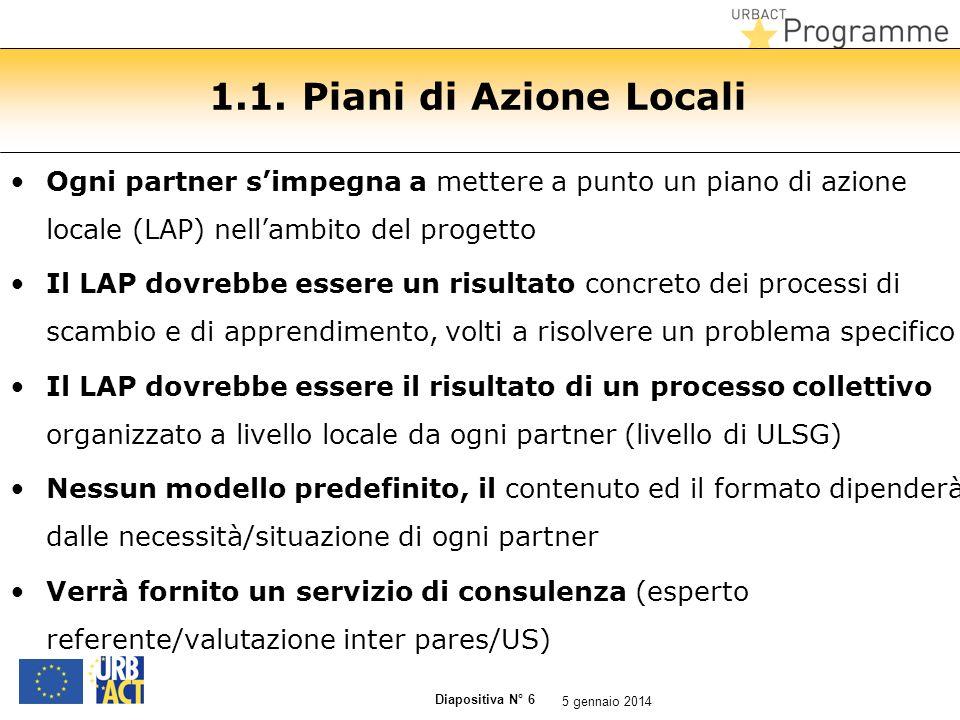Diapositiva N° 6 1.1. Piani di Azione Locali Ogni partner simpegna a mettere a punto un piano di azione locale (LAP) nellambito del progetto Il LAP do