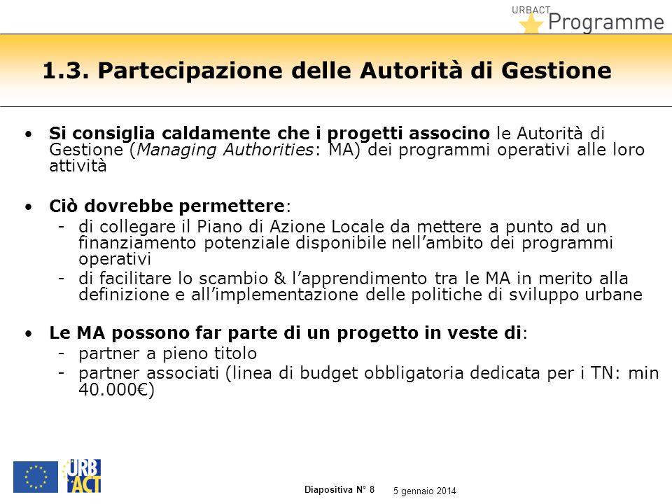 Diapositiva N° 8 1.3. Partecipazione delle Autorità di Gestione Si consiglia caldamente che i progetti associno le Autorità di Gestione (Managing Auth