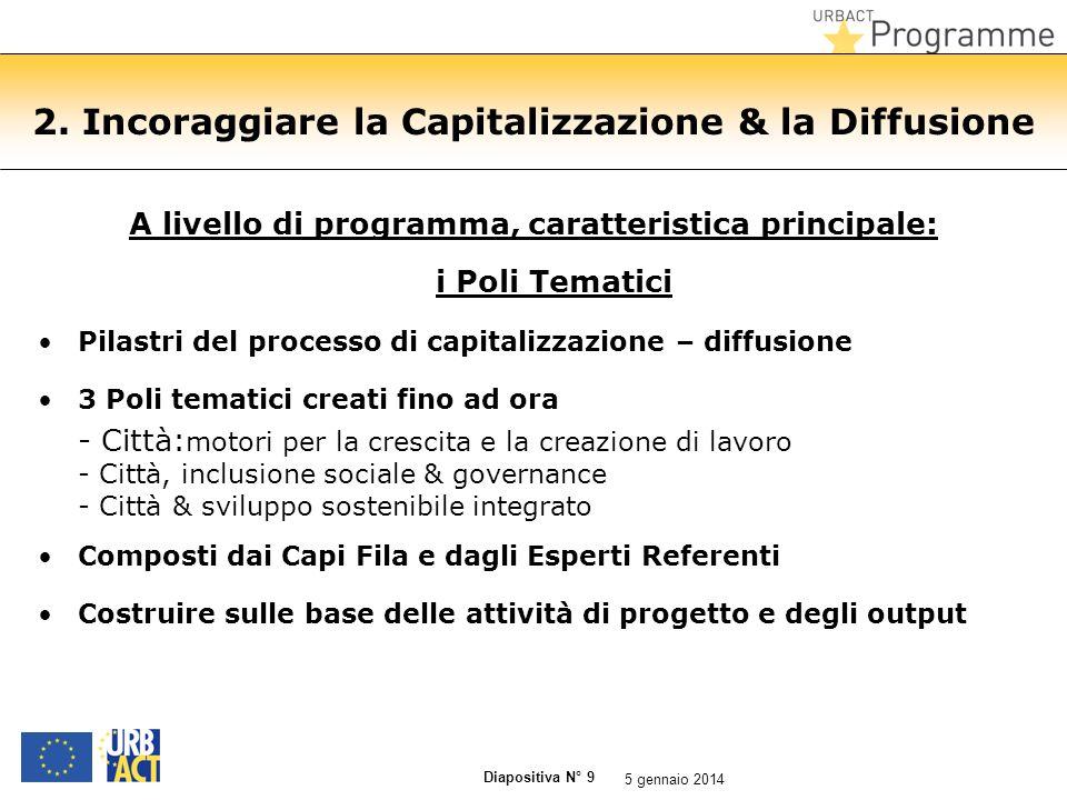 Diapositiva N° 9 2. Incoraggiare la Capitalizzazione & la Diffusione A livello di programma, caratteristica principale: i Poli Tematici Pilastri del p