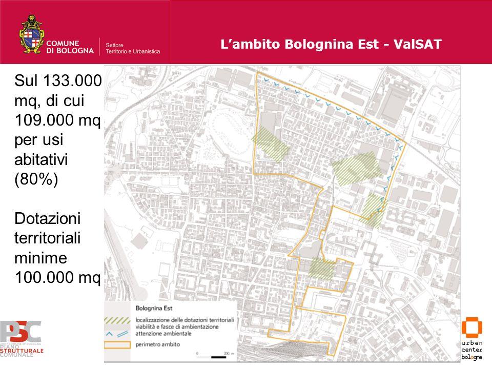 Lambito Bolognina Est - ValSAT Sul 133.000 mq, di cui 109.000 mq per usi abitativi (80%) Dotazioni territoriali minime 100.000 mq