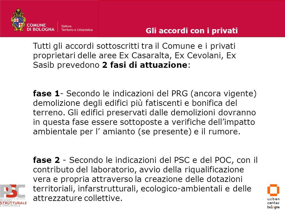 Tutti gli accordi sottoscritti tra il Comune e i privati proprietari delle aree Ex Casaralta, Ex Cevolani, Ex Sasib prevedono 2 fasi di attuazione: fa