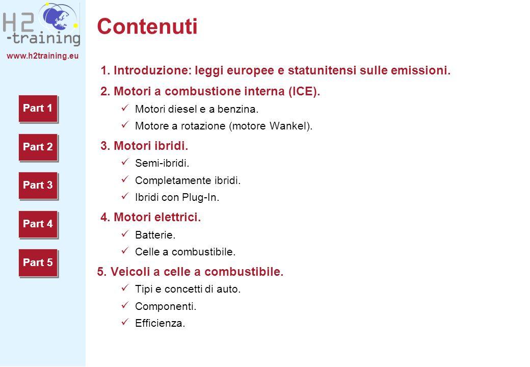 www.h2training.eu Contenuti 1. Introduzione: leggi europee e statunitensi sulle emissioni. 2. Motori a combustione interna (ICE). Motori diesel e a be