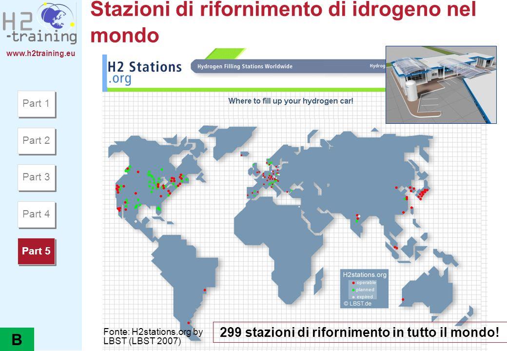 www.h2training.eu Stazioni di rifornimento di idrogeno nel mondo Part 1 Part 2 Part 3 Part 4 Part 5 299 stazioni di rifornimento in tutto il mondo! Fo