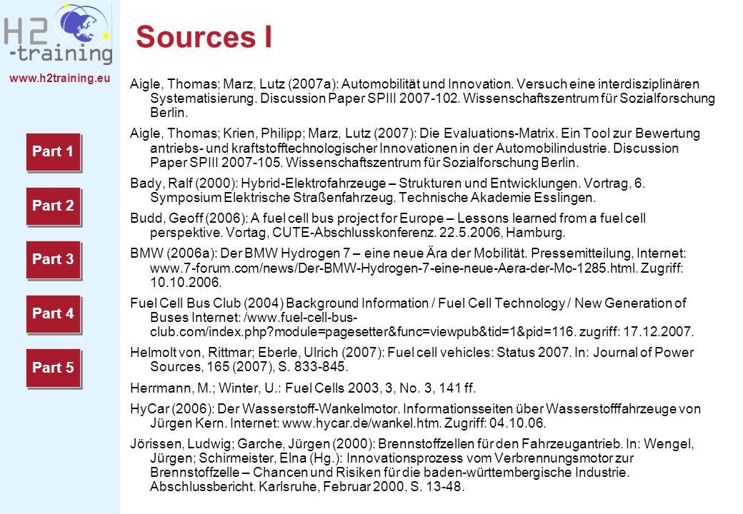 www.h2training.eu Sources I Aigle, Thomas; Marz, Lutz (2007a): Automobilität und Innovation. Versuch eine interdisziplinären Systematisierung. Discuss