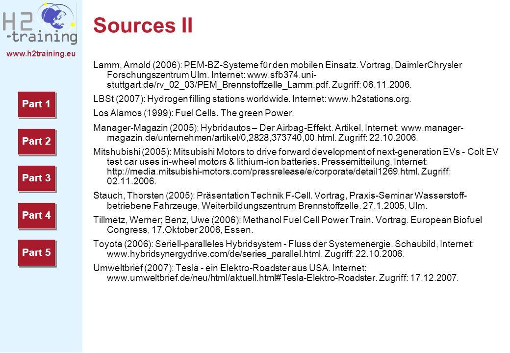 www.h2training.eu Sources II Lamm, Arnold (2006): PEM-BZ-Systeme für den mobilen Einsatz. Vortrag, DaimlerChrysler Forschungszentrum Ulm. Internet: ww