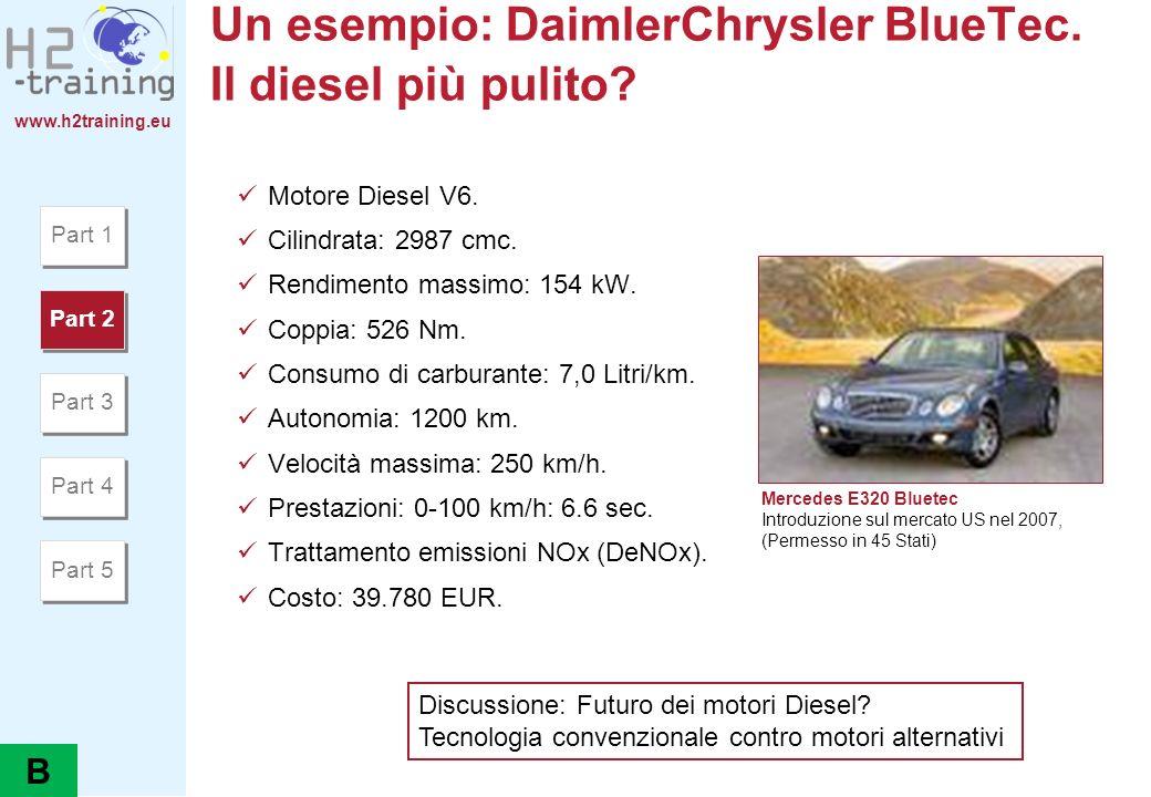 www.h2training.eu Un esempio: DaimlerChrysler BlueTec. Il diesel più pulito? Motore Diesel V6. Cilindrata: 2987 cmc. Rendimento massimo: 154 kW. Coppi