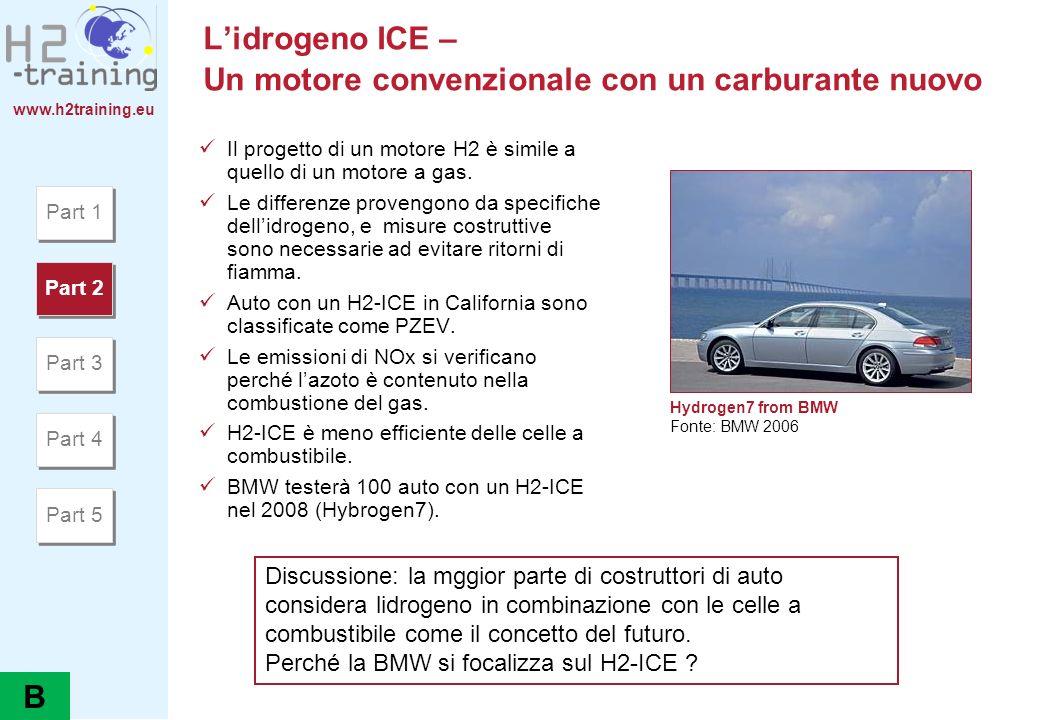 www.h2training.eu Lidrogeno ICE – Un motore convenzionale con un carburante nuovo Il progetto di un motore H2 è simile a quello di un motore a gas. Le
