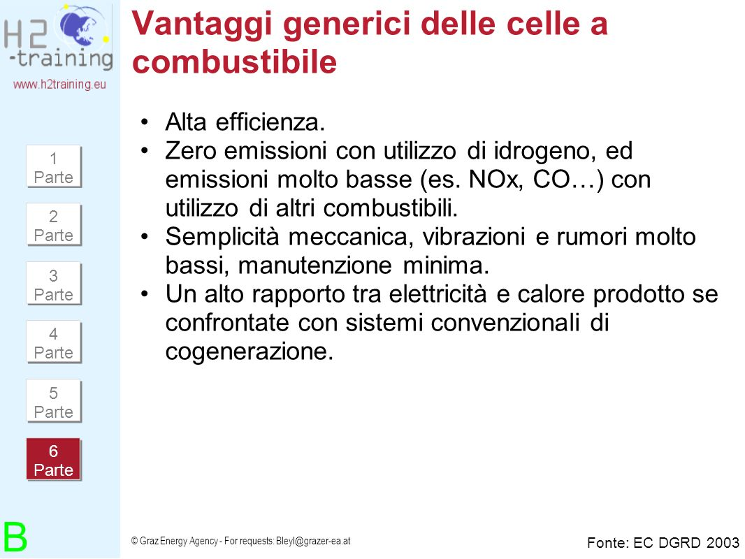 © Graz Energy Agency - For requests: Bleyl@grazer-ea.at Vantaggi generici delle celle a combustibile Alta efficienza. Zero emissioni con utilizzo di i