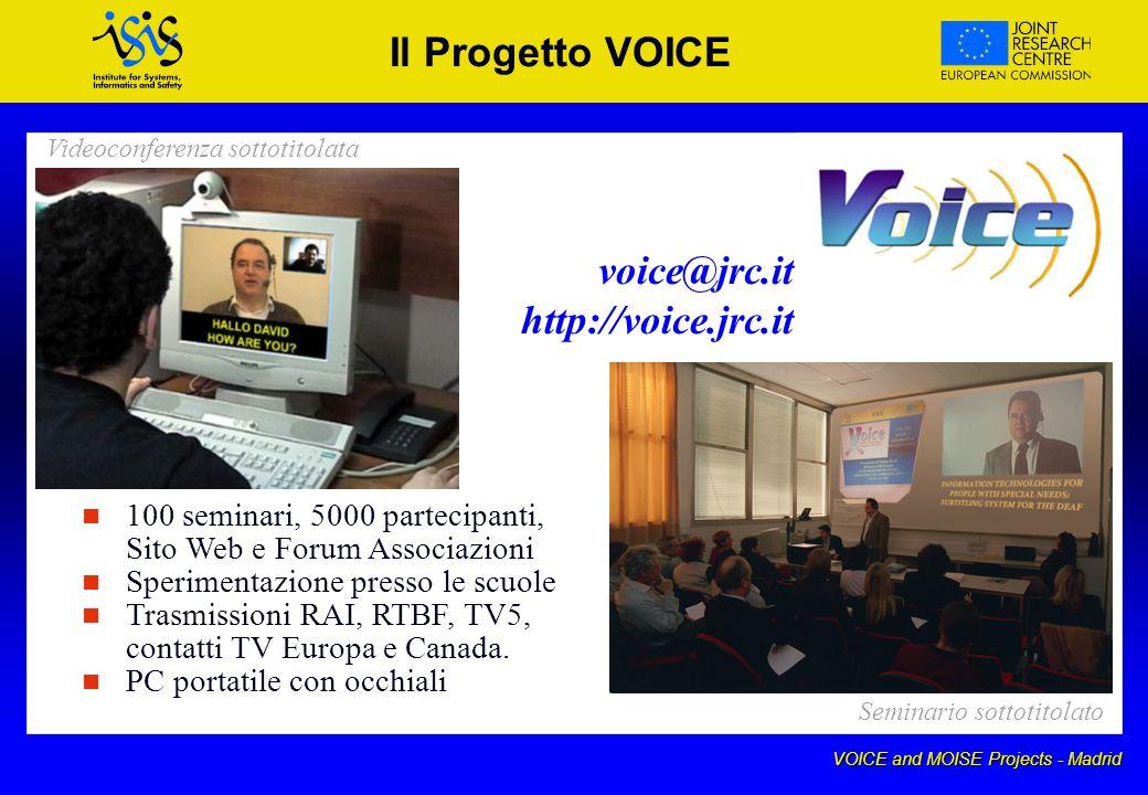 VOICE and MOISE Projects - Madrid Il Progetto VOICE voice@jrc.it http://voice.jrc.it n n 100 seminari, 5000 partecipanti, Sito Web e Forum Associazioni n n Sperimentazione presso le scuole n n Trasmissioni RAI, RTBF, TV5, contatti TV Europa e Canada.