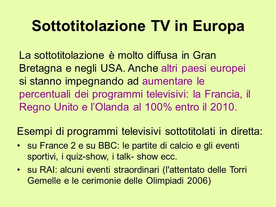 Sottotitolazione TV in Europa Esempi di programmi televisivi sottotitolati in diretta: su France 2 e su BBC: le partite di calcio e gli eventi sportiv