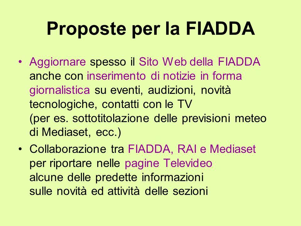 Proposte per la FIADDA Aggiornare spesso il Sito Web della FIADDA anche con inserimento di notizie in forma giornalistica su eventi, audizioni, novità