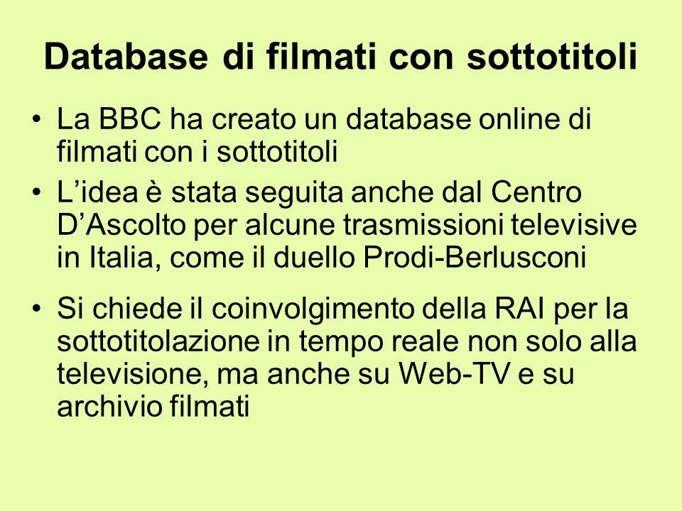 Database di filmati con sottotitoli La BBC ha creato un database online di filmati con i sottotitoli Lidea è stata seguita anche dal Centro DAscolto p