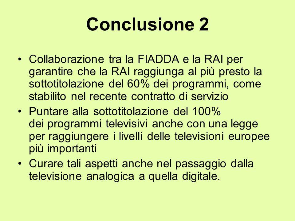 Conclusione 2 Collaborazione tra la FIADDA e la RAI per garantire che la RAI raggiunga al più presto la sottotitolazione del 60% dei programmi, come s