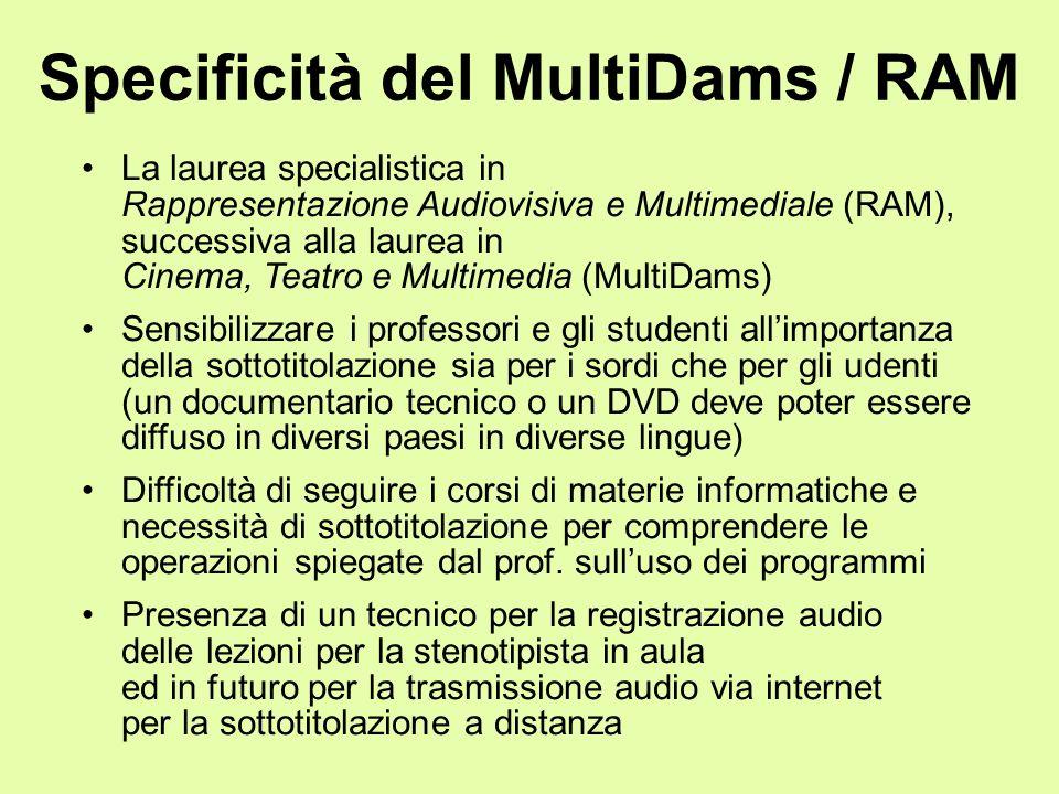 Specificità del MultiDams / RAM La laurea specialistica in Rappresentazione Audiovisiva e Multimediale (RAM), successiva alla laurea in Cinema, Teatro
