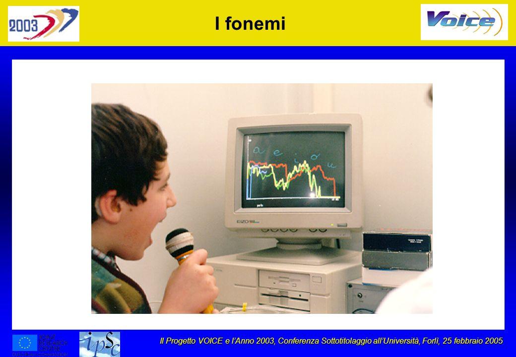 Il Progetto VOICE e lAnno 2003, Conferenza Sottotitolaggio allUniversità, Forlì, 25 febbraio 2005 I fonemi