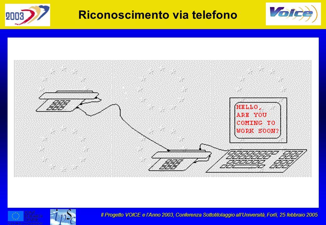 Il Progetto VOICE e lAnno 2003, Conferenza Sottotitolaggio allUniversità, Forlì, 25 febbraio 2005 Riconoscimento via telefono