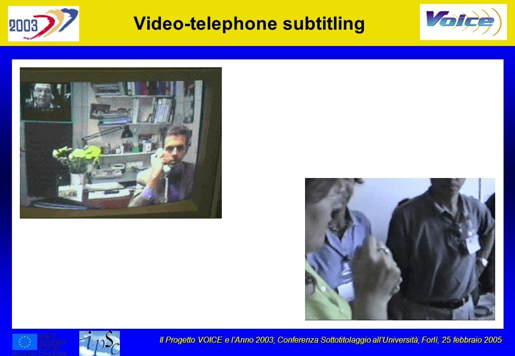 Il Progetto VOICE e lAnno 2003, Conferenza Sottotitolaggio allUniversità, Forlì, 25 febbraio 2005 Video-telephone subtitling