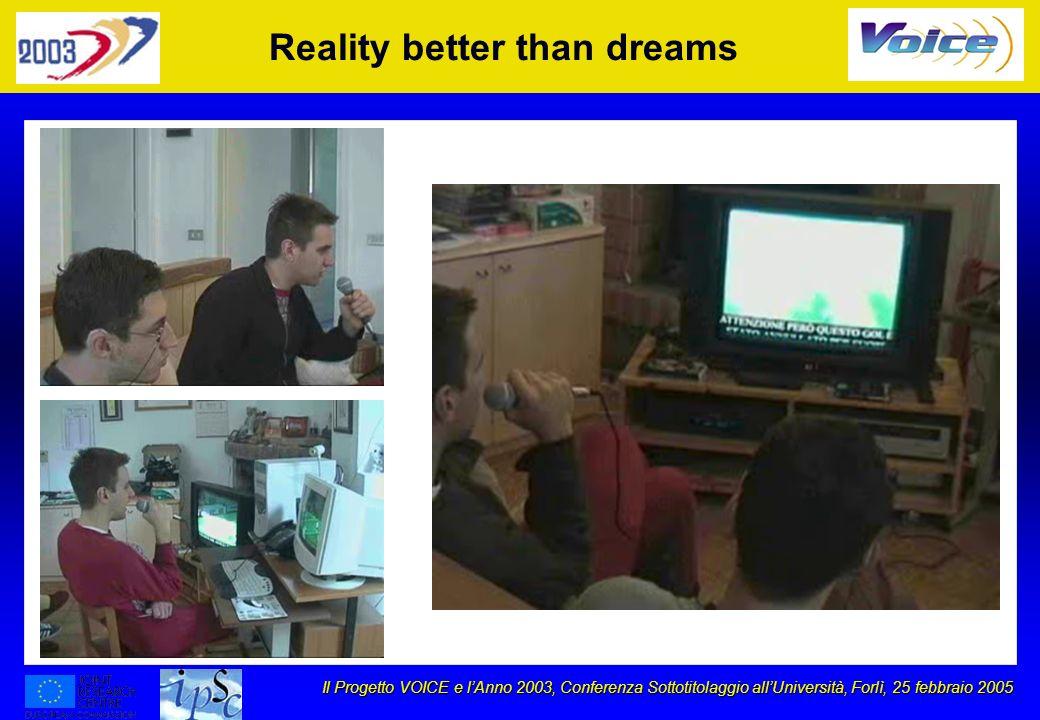 Il Progetto VOICE e lAnno 2003, Conferenza Sottotitolaggio allUniversità, Forlì, 25 febbraio 2005 Reality better than dreams
