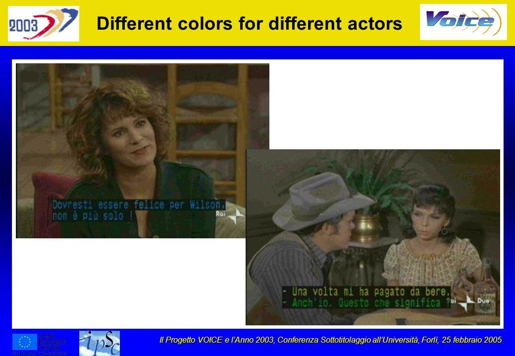 Il Progetto VOICE e lAnno 2003, Conferenza Sottotitolaggio allUniversità, Forlì, 25 febbraio 2005 Different colors for different actors