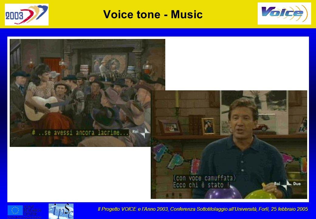 Il Progetto VOICE e lAnno 2003, Conferenza Sottotitolaggio allUniversità, Forlì, 25 febbraio 2005 Voice tone - Music
