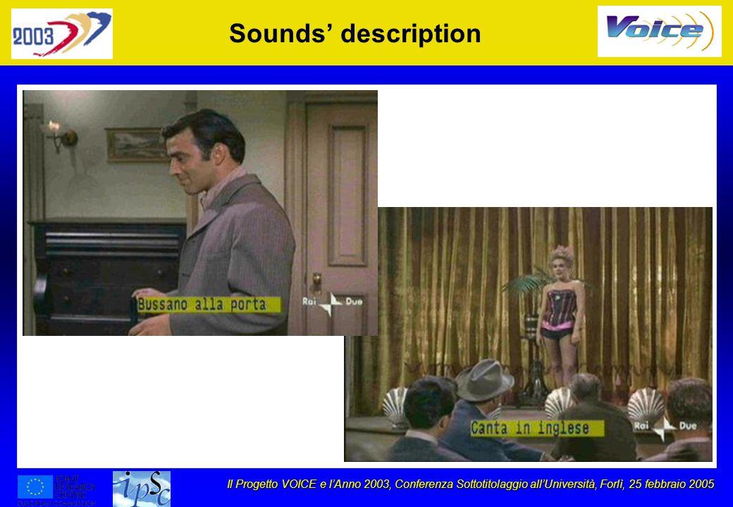 Il Progetto VOICE e lAnno 2003, Conferenza Sottotitolaggio allUniversità, Forlì, 25 febbraio 2005 Sounds description