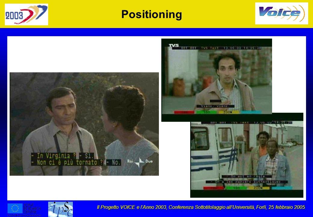 Il Progetto VOICE e lAnno 2003, Conferenza Sottotitolaggio allUniversità, Forlì, 25 febbraio 2005 Positioning
