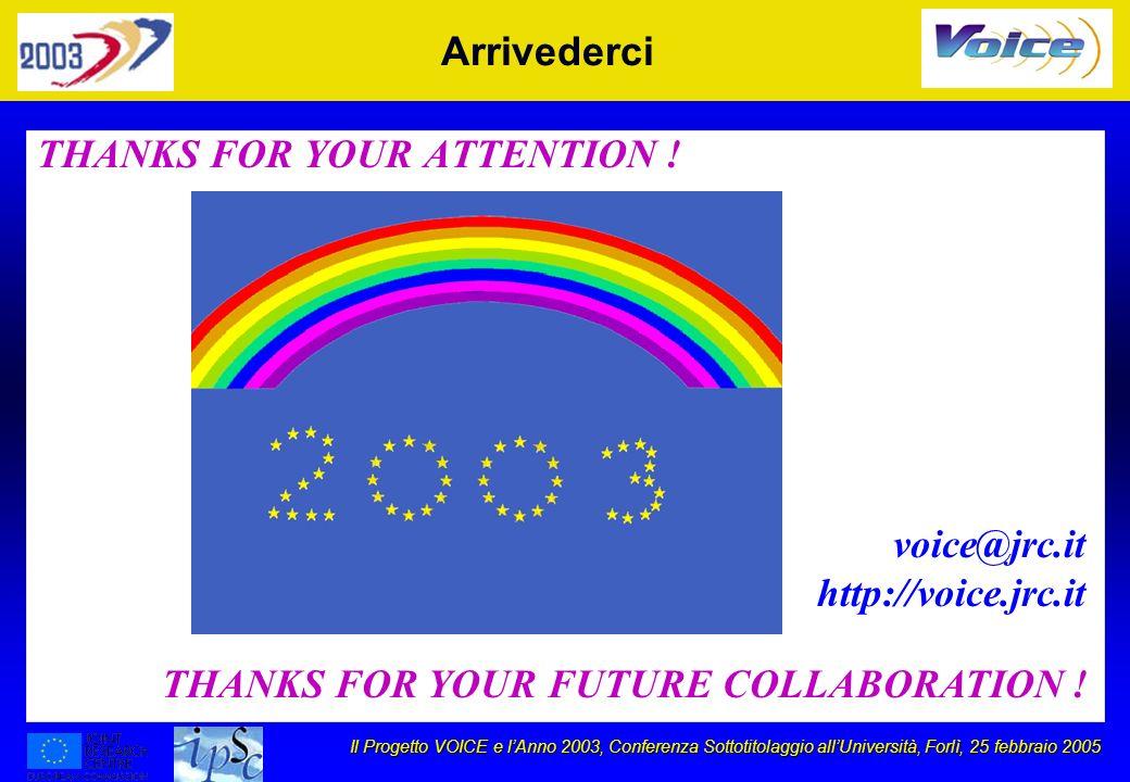 Il Progetto VOICE e lAnno 2003, Conferenza Sottotitolaggio allUniversità, Forlì, 25 febbraio 2005 Arrivederci THANKS FOR YOUR ATTENTION ! THANKS FOR Y