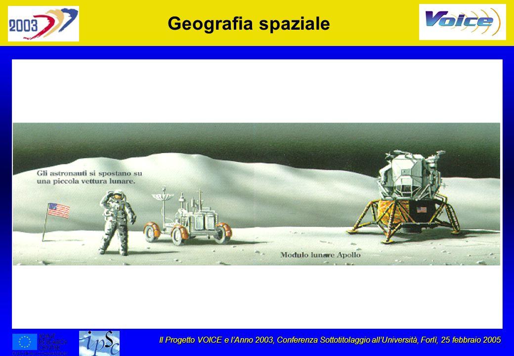 Il Progetto VOICE e lAnno 2003, Conferenza Sottotitolaggio allUniversità, Forlì, 25 febbraio 2005 Geografia spaziale