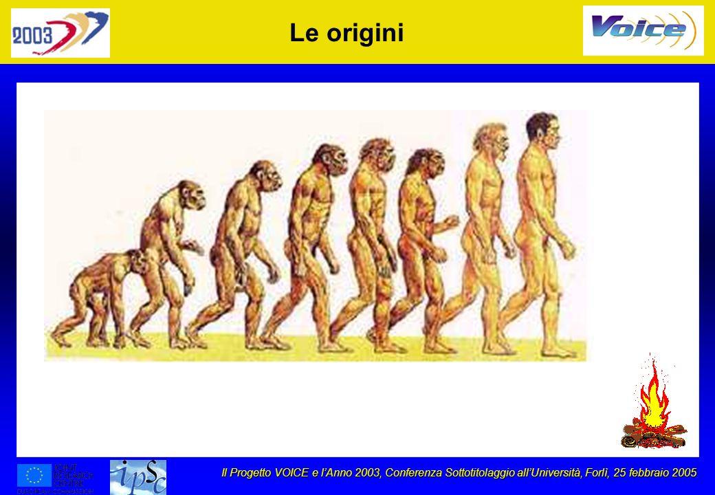 Il Progetto VOICE e lAnno 2003, Conferenza Sottotitolaggio allUniversità, Forlì, 25 febbraio 2005 Le origini