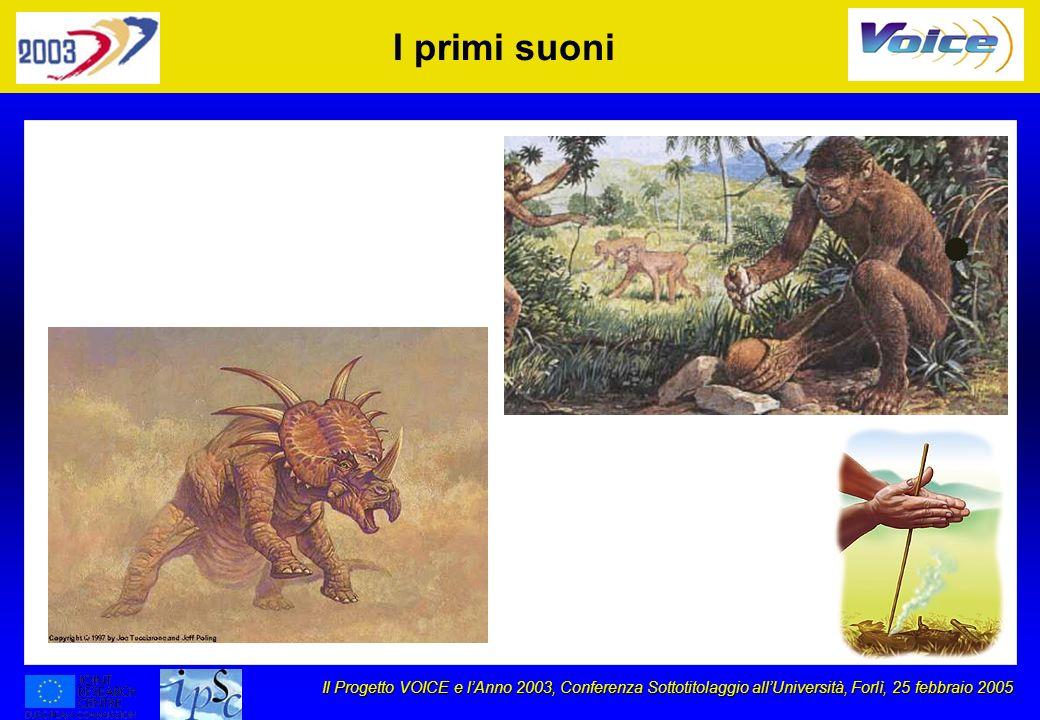 Il Progetto VOICE e lAnno 2003, Conferenza Sottotitolaggio allUniversità, Forlì, 25 febbraio 2005 I primi suoni