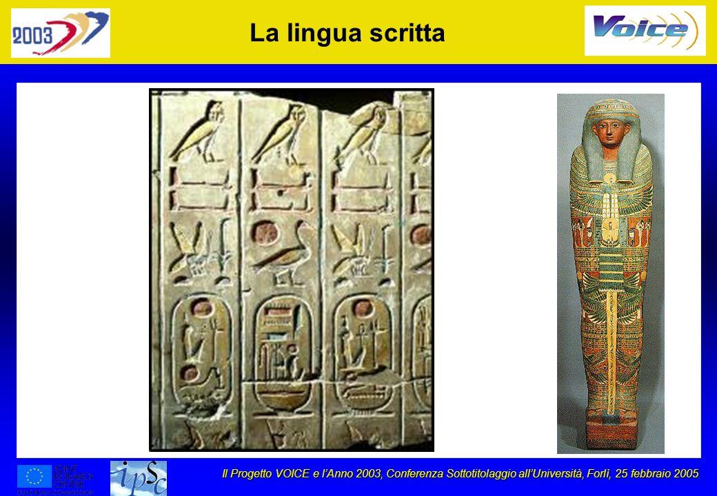 Il Progetto VOICE e lAnno 2003, Conferenza Sottotitolaggio allUniversità, Forlì, 25 febbraio 2005 La lingua scritta