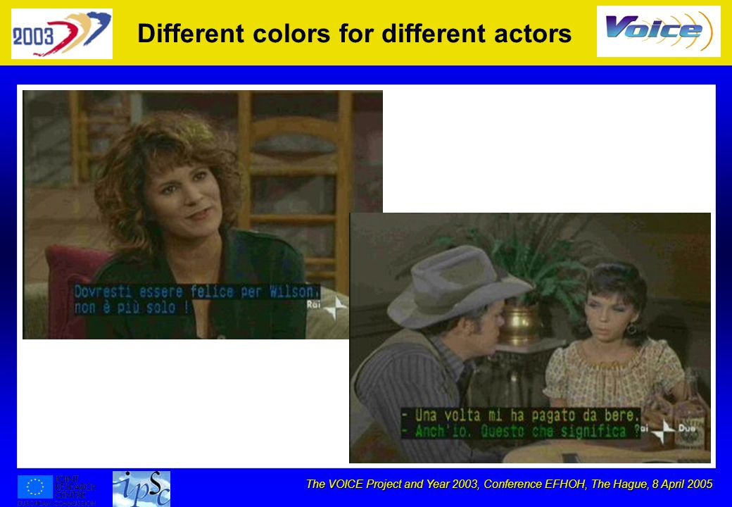 The VOICE Project and Year 2003, Conference EFHOH, The Hague, 8 April 2005 Different colors for different actors