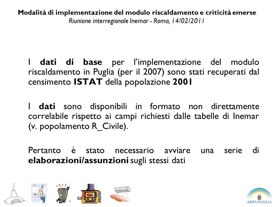 I dati di base per limplementazione del modulo riscaldamento in Puglia (per il 2007) sono stati recuperati dal censimento ISTAT della popolazione 2001 I dati sono disponibili in formato non direttamente correlabile rispetto ai campi richiesti dalle tabelle di Inemar (v.