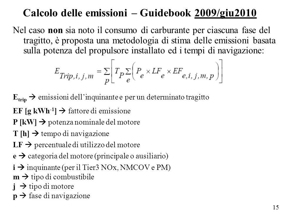 15 Calcolo delle emissioni – Guidebook 2009/giu2010 Nel caso non sia noto il consumo di carburante per ciascuna fase del tragitto, è proposta una meto