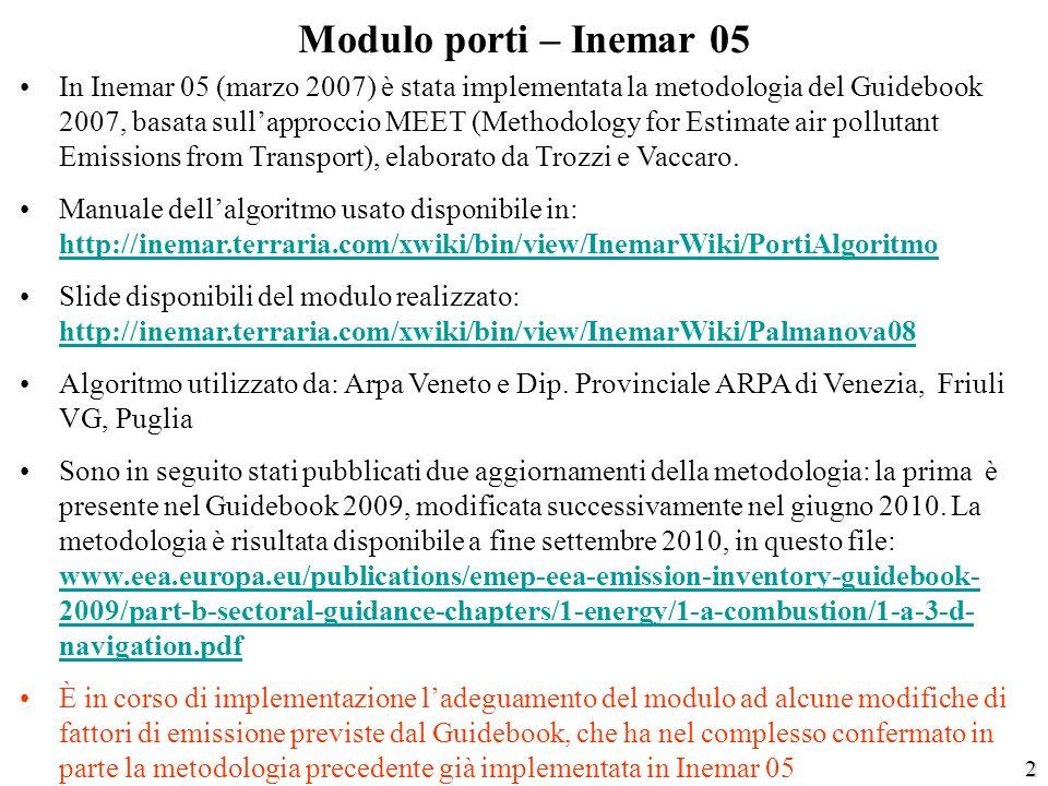 2 Modulo porti – Inemar 05 In Inemar 05 (marzo 2007) è stata implementata la metodologia del Guidebook 2007, basata sullapproccio MEET (Methodology fo