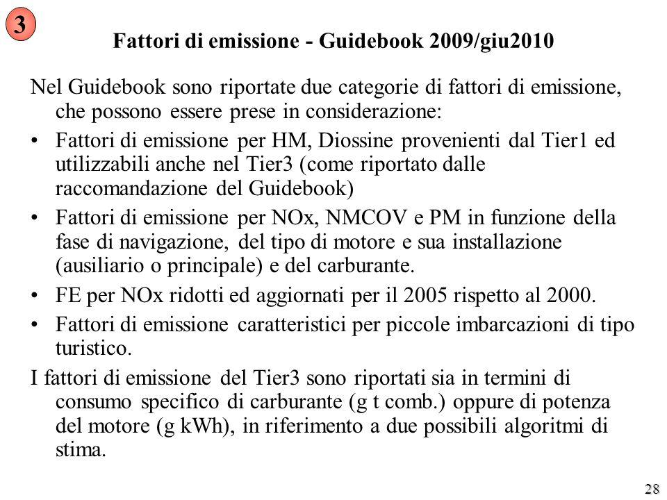 28 Fattori di emissione - Guidebook 2009/giu2010 Nel Guidebook sono riportate due categorie di fattori di emissione, che possono essere prese in consi