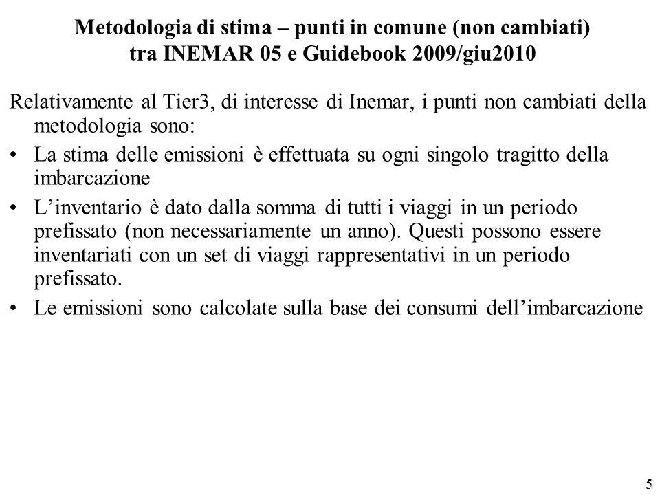 5 Metodologia di stima – punti in comune (non cambiati) tra INEMAR 05 e Guidebook 2009/giu2010 Relativamente al Tier3, di interesse di Inemar, i punti